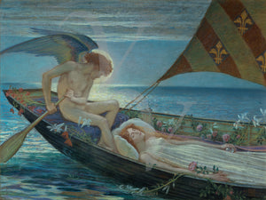 Dream Voyage by Walter Crane. Angel with woman in boat. Fine art print