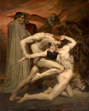 Dante and Virgil painting by William-Adolphe Bouguereau From The Divine Comedy.