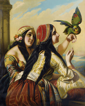 Two Women with a Parrot. Antique painting. Fine art print