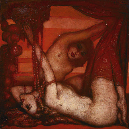Ruby. Erotic painting of two female nudes and a decadent setting. Fine art print