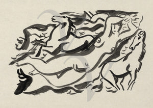 Nude Swimming with Horses. Ink painting. Fine art print