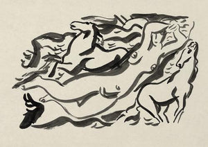 Woman Swimming with Horses. Ink painting. Fine art print