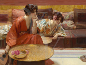 Idle Hours painting. Two women watching a tortoise. Fine Art Print