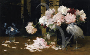 Still Life with Peonies and objets d'art. Exotic antique painting. Fine art print