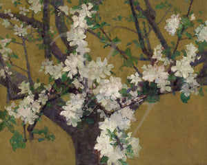 Exotic style tree in blossom painting. Fine art print