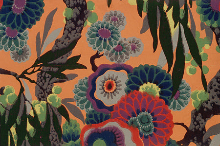 Dahlias and Eucalyptus. 1920s floral design painting. Fine art print
