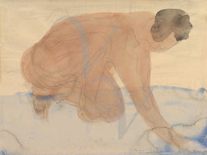 Watercolor nude painting by Auguste Rodin. Fine art print