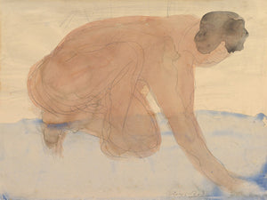 Watercolour nude painting by Auguste Rodin. Fine art print