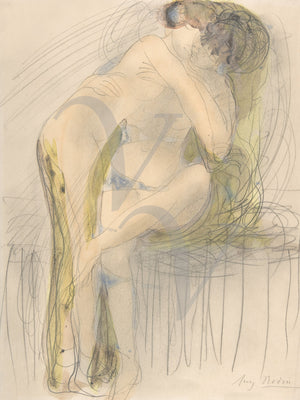 The Embrace by Auguste Rodin. Watercolour lovers. Fine art prints