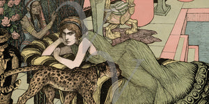 Decadent Art Nouveau woman with leopard fine art print