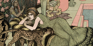 Art Nouveau illustration of a woman with a leopard. Fine art print