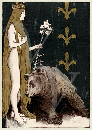 Bear and the Maiden Fair. Antique Art Nouveau illustration. Fine Art Print