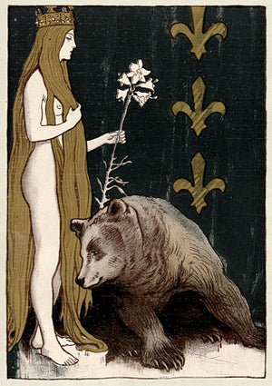 Bear and the Maiden Fair. Vintage Art Nouveau illustration. Fine Art Print