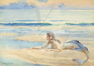 Vintage mermaid on beach painting. Fine art print
