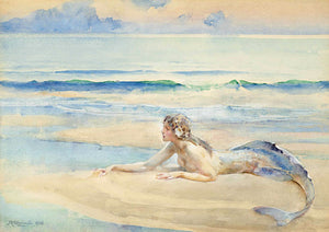 Mermaid lying on a beach. Antique painting by by John Reinhard Weguelin. Fine art print