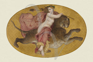 Bacchante Riding a Leopard. Antique mythology fine art print
