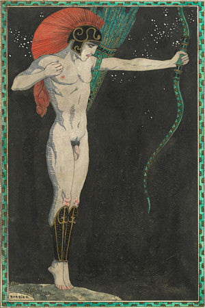 The Archer by Georges Barbier. Art Deco male nude. Fine art print