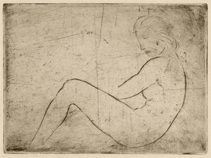 Reclining Nude. Antique drawing. Fine art print