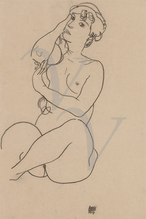 Female Nude by Egon Schiele. Charcoal drawing. Fine art print