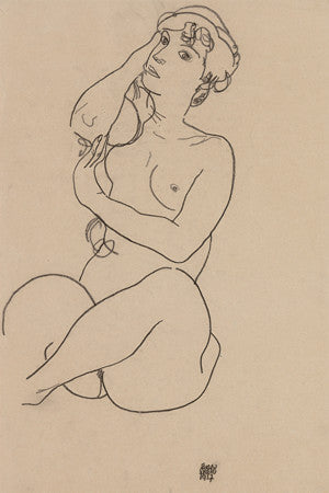 Female Nude by Egon Schiele. Charcoal drawing figure study. Fine art print