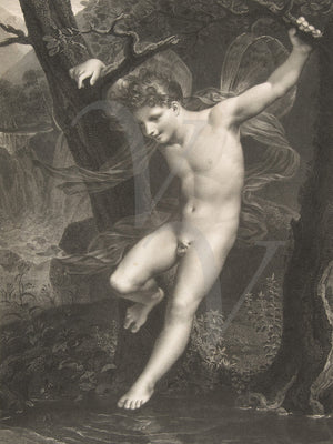 Antique engraving of the Greek God Zephyr. Fine art print