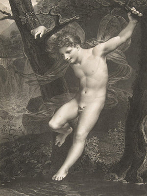 Antique engraving of Zephyr, God of the west wind in Greek Mythology