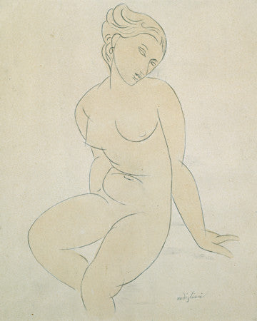 Watercolour painting of a seated nude by Amedeo Modigliani