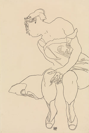 Woman in Corset and Boots. Egon Schiele Drawing. Fine Art Print