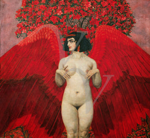 Red Angel. Symbolist painting. Fine art print