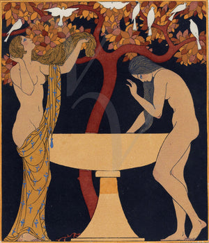 Chansons de Bilitis Female Lovers. Art Deco Illustration by Georges Barbier. Fine art print