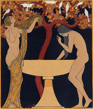 Lesbian lovers. Chansons de Bilitis. Art Deco Illustration by Georges Barbier. Fine art print