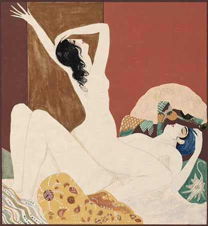 Exotic lovers. Oriental-inspired, erotic French Art Deco  illustration