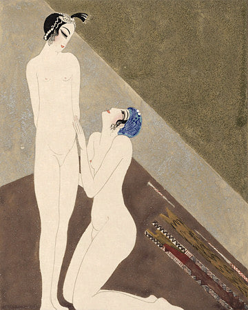 Art Deco Oriental Lovers. Erotic illustration. Fine art print