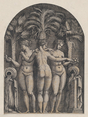 The Three Graces by Marcantonio Raimondi. Antique Italian engraving. Fine art print