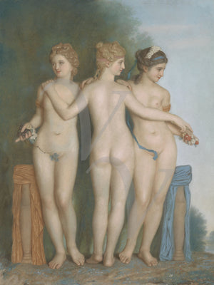 The Three Graces. Classical nude women painting. Fine art print