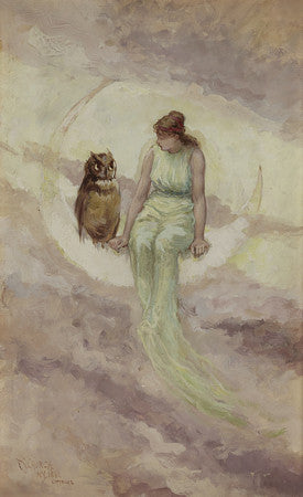 Woman sitting on the moon with an owl painting. Fine art print