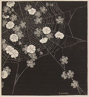 Spider Web with Flowers. Antique artwork. Fine art print