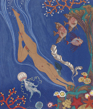 Nude male underwater diver. Georges Barbier. Fine Art Print