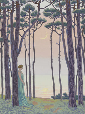 Woman in Moonlit Forest