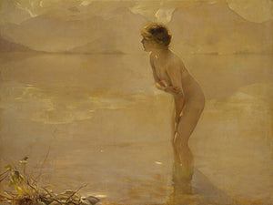 September Morn by Paul Chabas. Nude in lake painting. Fine art print