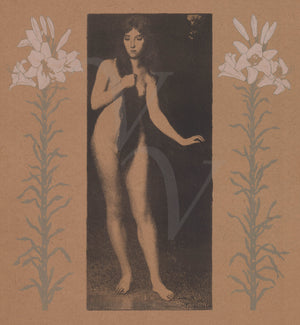 Female nature spirit nude with flowers. Art Nouveau print