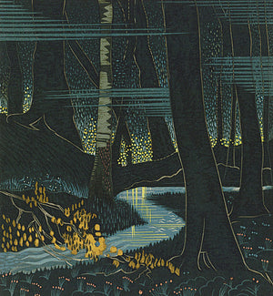 Art Deco Night Forest. Fine Art Print