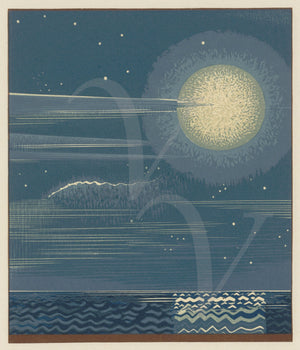 Full Moon Over Ocean. Art Deco design. Fine art print