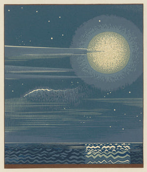 Seascape with a full moon. Art Deco design. Fine art print.