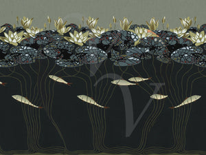 Water Lilies and Fish design. Japonism. Fine Art Print