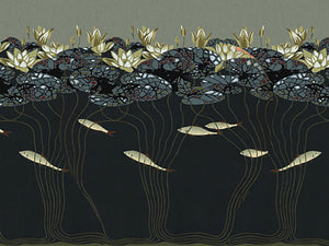Water Lilies and Fish design. Japonisme. Fine Art Print