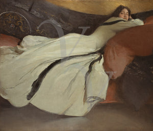 Repose. Antique woman reclining painting. Fine art print
