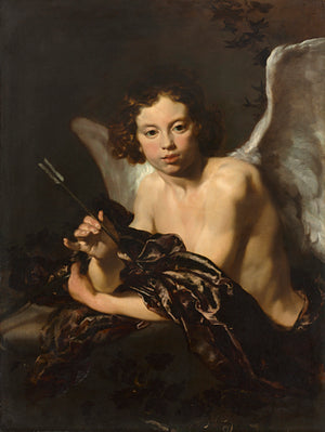 Cupid holding an arrow. Baroque love God painting. Fine art print