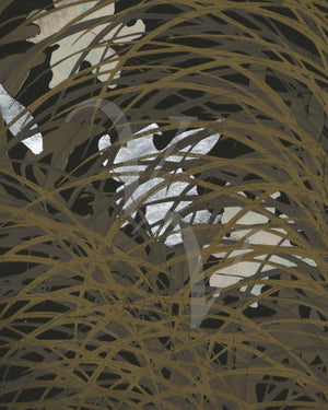 White flowers in grass. Japonisme painting. Fine art print