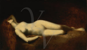 Antique painting of a female nude reclining. Fine art print